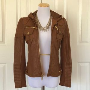 Soft Michael Kors Brown Leather Jacket w/ hood XS